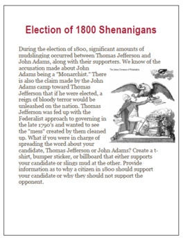 Election of 1800 Shenanigans! Campaign Project for Middle & High School History