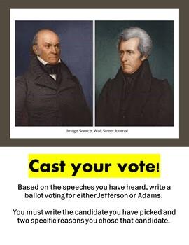 Election of 1824: John Quincy Adams v Jackson Presidential Stump Speech Activity