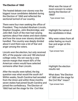 Election of 1860: Interactive Lesson for Google Classrooms