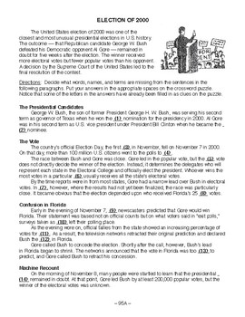 Election of 2000, AMERICAN GOVERNMENT LESSON 95 of 105, Activity+Quiz