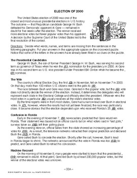 Election of 2000, RECENT AMERICAN HISTORY LESSON 33 of 45, Activity & Quiz