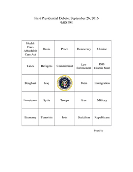Election of 2016 Presidential Debate Bingo