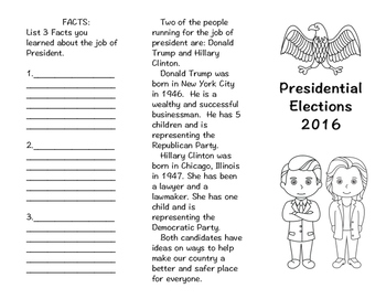 Presidential Elections 2016 Foldable