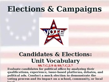 Elections & Campaigns - Candidates & Elections - Unit Vocabulary Exercise