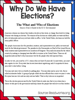 Elections Reading Comprehension and Math Activity