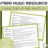FREE Concepts of Music Listening Cards