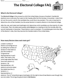 The Electoral College in 5 Minutes Video Worksheet by History Wizard
