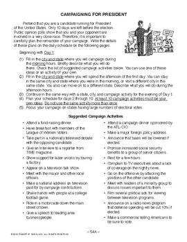 Campaigning for President, AMERICAN GOVERNMENT LESSON 54 of 105, Fun Activity