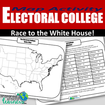 photograph relating to Printable Electoral College Map titled Electoral College or university Map Worksheets Education Elements TpT