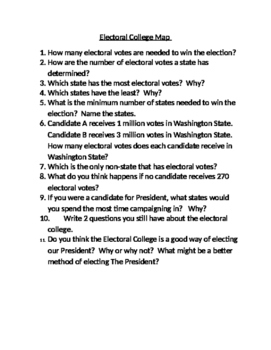 Electoral College Map Questions: Constitution Day
