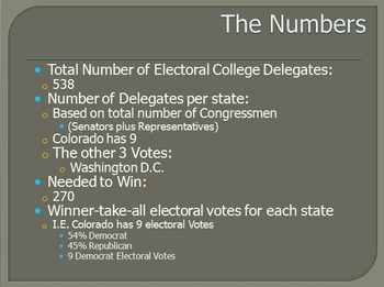 Electoral College PowerPoint with Cloze Note Handout and Pro/Con Article