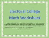 Electoral College Presidential Math Worksheet