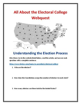 Electoral College Webquest + Presidential Election Webquest Bundle (With Keys)!
