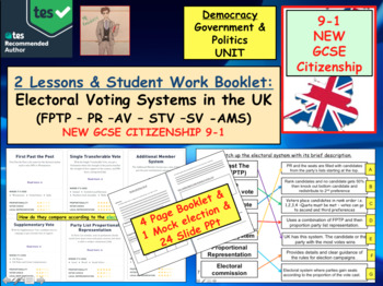 Electoral Voting Systems used in the UK British Politics GCSE CITIZENSHIP 9-1