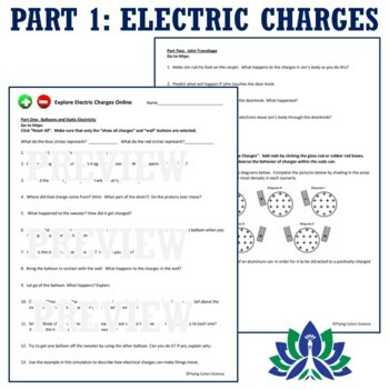 Electric Charges & Electric Field Lines Online Activity NGSS MS-PS2-3 MS-PS2-5