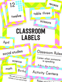 Electric Chevron Classroom Labels and Signs in English