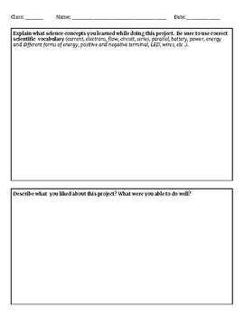Electric Circuit Design Project Planning Sheet