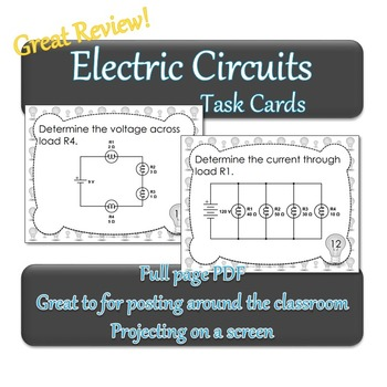 Electric Circuit Task Cards - Great Review for Electricity Unit