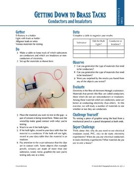 Electric Circuits Conductor or Insulator? Hands-on lab activity