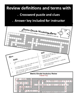 Electric Circuits Vocabulary Review WordFit Puzzle - HS Physics