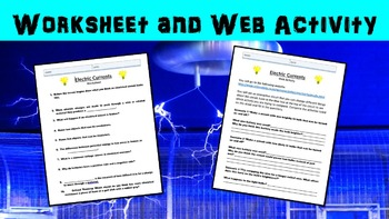 Electric Current No Prep Lesson with Power Point, Worksheet, and Web Activity