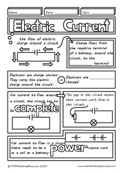 Electric Current in Electrical Circuits Middle School Physics, Doodle Notes