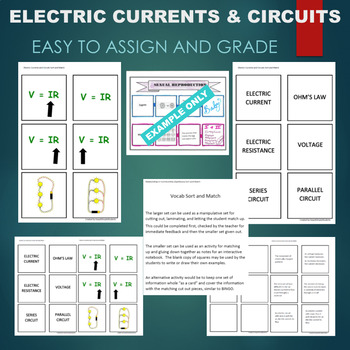 Electric Currents & Circuits (Ohm, Voltage, etc) Sort & Match Activity