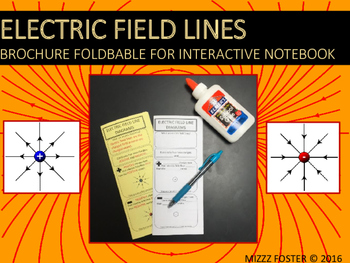 Electric Field Lines Brochure Graphic Organizer for Interactive Notebook
