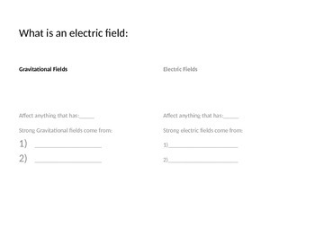 Electric Field Notes - Must have a Van de Graaff