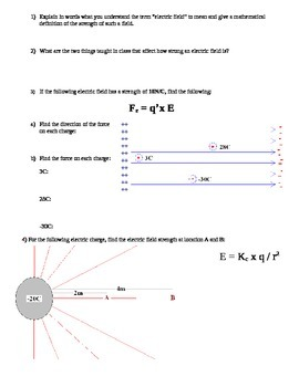Electric Field Worksheet for Physics