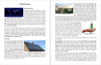 Electric House Reading Comprehension Article - Grade 8 and Up