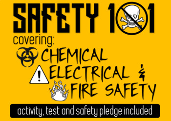 Electrical, Chemical & Fire Safety Activity and Test- Great for Health Science!