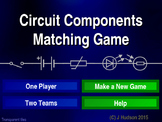 Electrical Circuit Components Interactive Matching Pairs Pictures Game