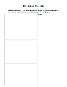 Electrical Circuits Illustrate and Explain Worksheet