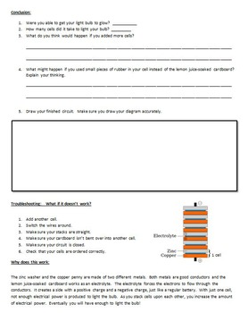 Electrical Circuits ~ My Penny Flashlight Lab sheet ~ Science experiment