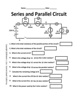 Electrical Circuits Series and Parallel Worksheet | TpT
