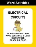 Electrical Circuits - Word Search, Word Scramble,  Secret