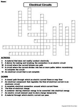 Electrical Circuits Worksheet Crossword Puzzle