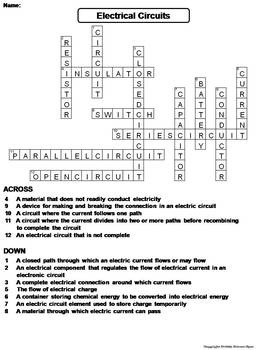 Electrical Circuits Worksheet/ Crossword Puzzle