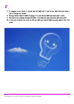 Electrical Energy Calculations, 20 easy, 20 medium, 10 hard. Including Answers