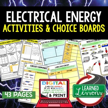 Physical Science Electrical Energy Choice Board Activities with Google Link