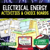 Physical Science Electrical Energy Activity Choice Board, Digital, Google