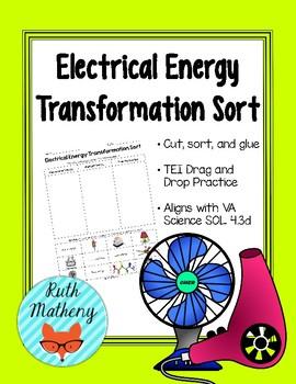 Electrical Energy Transformation Sort - VA Science SOL 4.3d