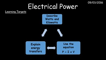 Electrical Power - electrical transformation and equations