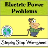 Electric Power Problems Worksheet