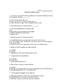 Electrical Safety Quiz and Answer Sheet (for the lesson on Electrical Safety)