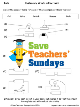 electrical components and broken circuits lesson plan and worksheetElectrical Plan Worksheet #17