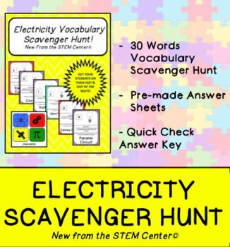 Electricity Vocabulary Scavenger Hunt Game
