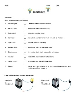 Electricity Activity Sheet for 5th Grade