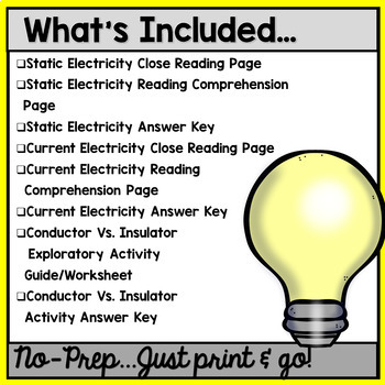Electricity: CLOSE Reading Activities